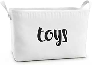 Fawn Hill Co Toy Storage Box Basket for Baby, Kids or Pets | Container Bin for Organizing Clutter in Bedroom, Nursery, Daycare, Classroom & Closet | Modern White Cotton Canvas with Handles (Large)