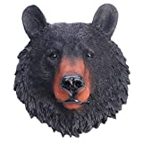 VOSAREA Animal Head Wall Art Resin Bear Head Plaque Wall Sculpture Bear Face Mini Bust Wall Hanging Decoration for Indoor Study Room Ornament Gift