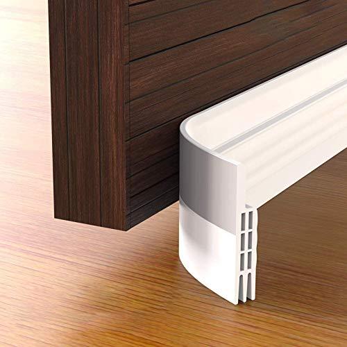 2 Packs of Under Door Draft Stopper,Door Bottom Seal Weather Stripping, Door Draft Blocker, Soundproof Door Sweep Weather Stripping for Doors, 2' W x 39' L, White