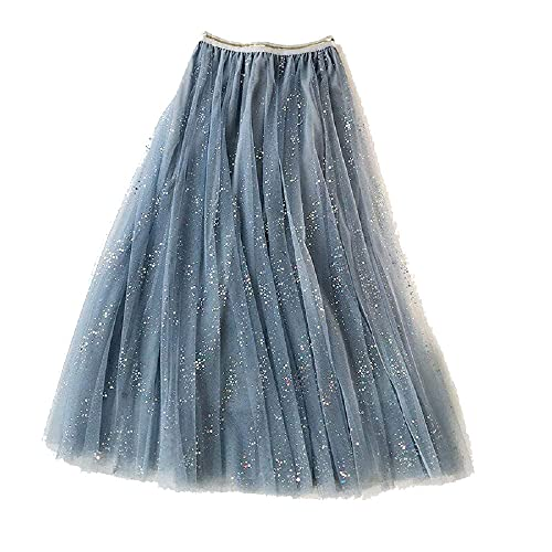 Plus Motif Falda plisada de media capa de malla de las mujeres con lentejuelas una línea - azul - Talla Única