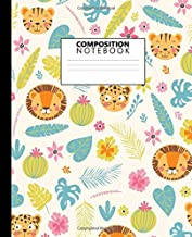 Composition Notebook: Pretty Lion & Tiger Blank Wide Ruled Notebook for Students, Kids and Teens | Trendy Jungle Wildlife Wide Lined Journal for School and College for Writing & Notes.