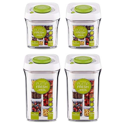 Pioneer Pump Fresh Vakuum Seal Kanister Food Aufbewahrung Tupperware Boxen Set von 4, Plastik, weiß/grün, 21.7 x 11 x 30.8 cm