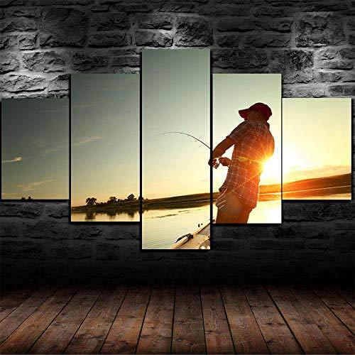 Stampa su Tela 5 Pezzi Stampe E Quadri su Tela 5 Pezzo Stampe su Canvas Murale Art Pittura con Cornice Fotografia Modern Home Decor Wall Art Regalo Natale 150X100Cm Pesca Big Fish Sunrise