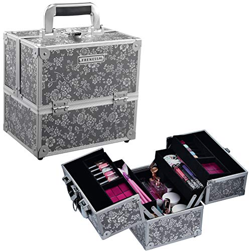Frenessa Professional Makeup Train Case Aluminum 4-Tier Trays Cosmetic Box Jewelry Storage Organizer with LockablePortable Travel Makeup Storage Box for Women and Girls Silver Floral