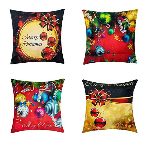 Wujo Christmas Pillow Covers 18X18 inch, Throw Pillow Cases Home Decoration Buffalo Plaid Cotton and Linen Pillow Covers for Home Office Living Room Set of 4(WJ-b).