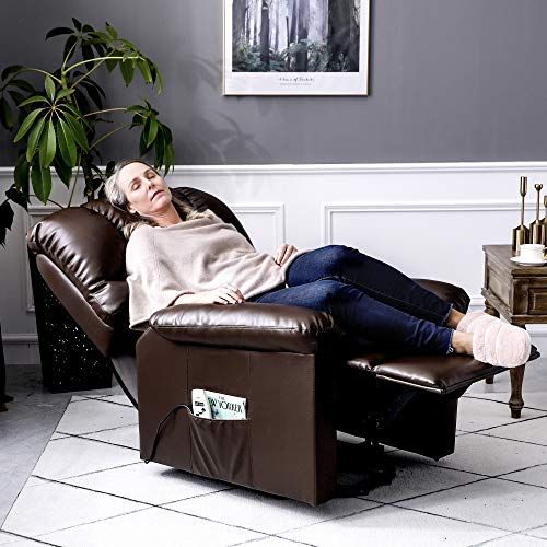 Orimoster Electric Lift Chairs Recliners for Elderly with Massage and Heat, Ergonomic PU Leather Power Lift Recliner with Remote, USB Port and Side Pocket (Brown)
