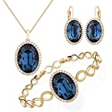 Embellished with crystail from Swarovski Jewelry Set-Blue Oval Stone - Pendant Necklace-Earrings-Bracelet for Women and Girls