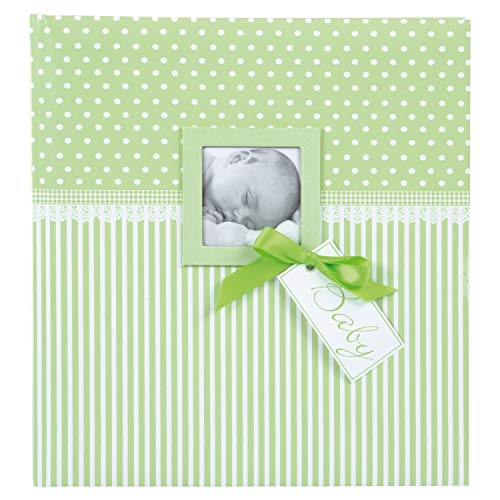 goldbuch 15803 Babyalbum mit Fensterausschnitt, Sweetheart, 30 x 31 cm, Baby Fotoalbum mit 60 weiße Blankoseiten & 4 illustrierten Seiten und Pergamin-Trennblättern, Kunstdruck, Grün
