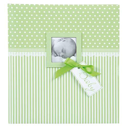 goldbuch Babyalbum mit Fensterausschnitt, Sweetheart, 30 x 31 cm, 60 weiße Blankoseiten mit 4 illustrierten Seiten und Pergamin-Trennblättern, Kunstdruck, grün, 15803