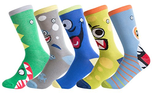 Boys 5 Pack Crew/Dress Socks – Versatile For Any Occasion By VYBE (Large, Silly)