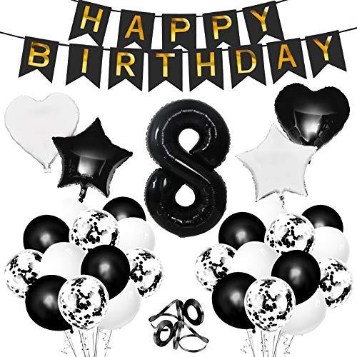 Gxhong Geburtstagsdeko Luftballons, Schwarz Zahl 8 Riesen Folienballon Konfetti Ballon Herzballon Starnballon Zahlenballon Happy Birthday Girlande Banner für Kindergeburtstag Dekoration