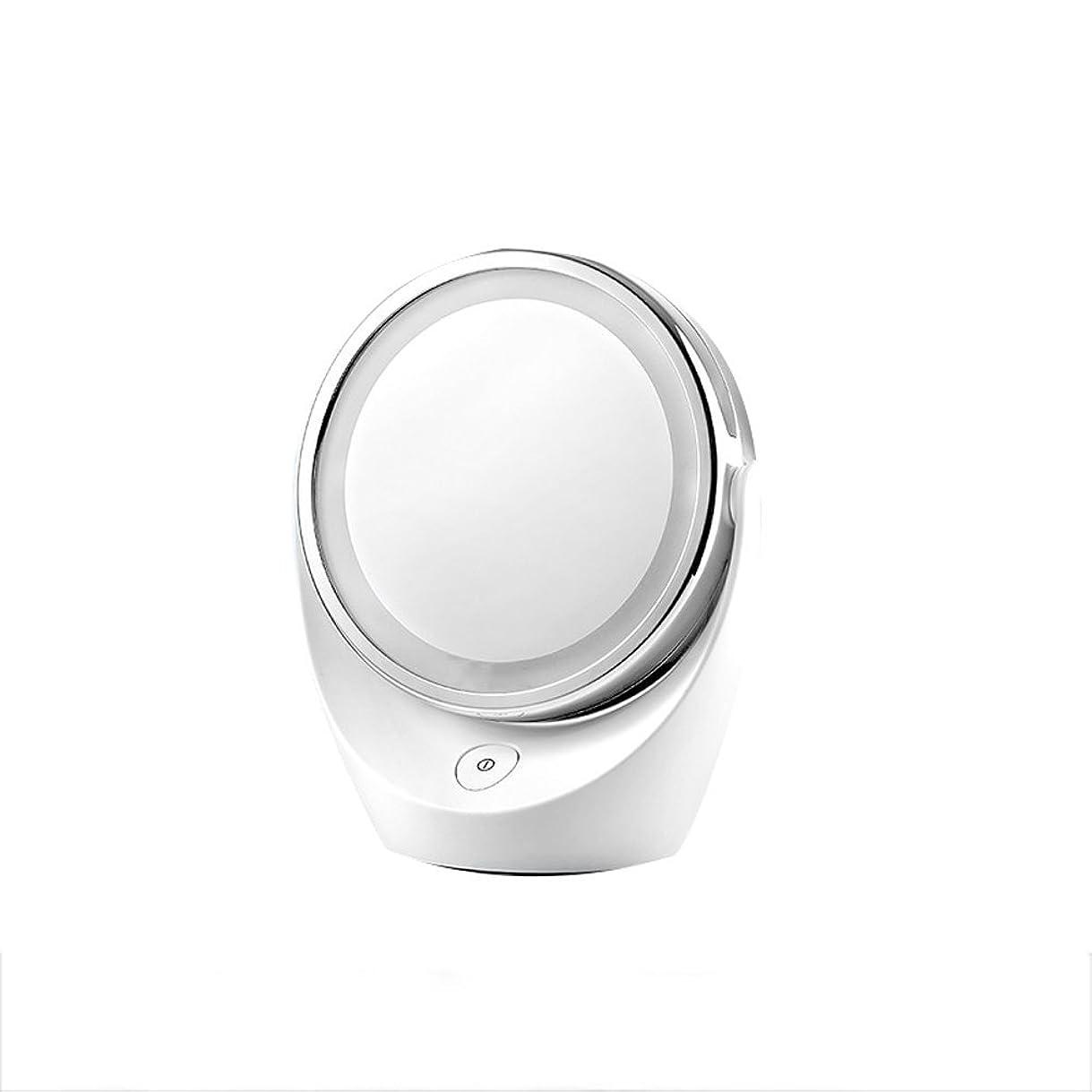 従事する統治する信条ZS 家庭用品& 化粧鏡LED照光ミラーコンチネンタルダブル化粧品スキンケアシェービングや旅行のために360度回転させて5倍拡大鏡を両面