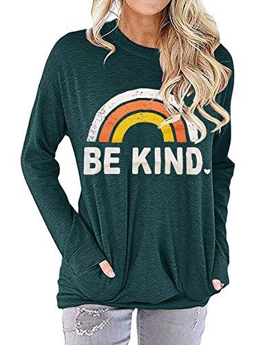 IRISGOD Womens Be Kind Sweatshirts Casual Long Sleeve Rainbow Inspirational Graphic Tunic Tops