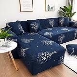 WXQY Funda de sofá elástica Funda de sofá de Sala de Estar Moderna, sofá de Esquina en Forma de L Necesita Comprar 2 Piezas, patrón de Hojas A10 4 plazas