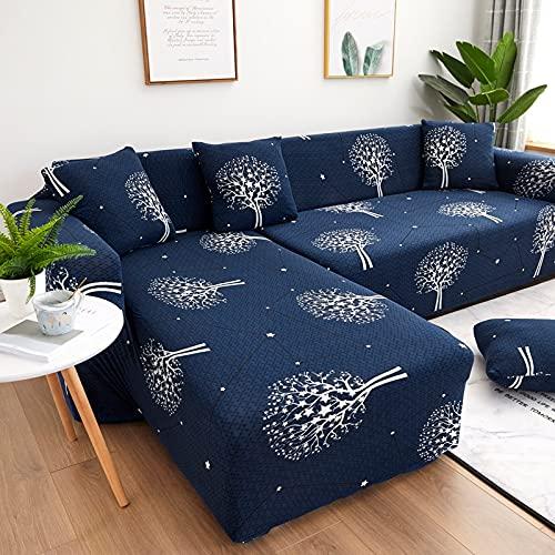 WXQY Funda de sofá con Estampado de Hojas clásicas, Funda de sofá elástica Resistente al Polvo y al Desgaste, Funda de sofá de Esquina en Forma de L A10 de 2 plazas