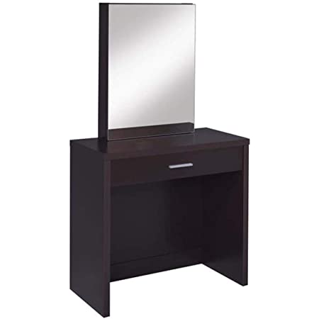 Amazon Com Modern Vanity Set With Mirror And Stool Perfect Piece Of Furniture For Your Bedroom Durable Makeup Table Organizer Available In White Or Brown Finish Cappuccino Kitchen Dining