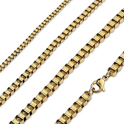 Collana in acciaio dorato–Catena Quadrato 54,5cm di lunghezza–larghezza Maglia 3mm–Gioiello Uomo