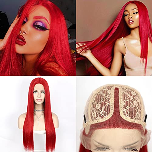 QD-Udreamy Natural Straight Red Color Hair Wigs Lace Front Wigs Heat Resistant Synthetic Hair Wigs for Women Party Wear Wigs 24 Inch