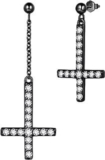 Mens Inverted Cross Earrings 925 Sterling Silver Women Upside-down Cross Earring St. Peter's Cross Earring Crystal Cubic Zirconia Jewelry