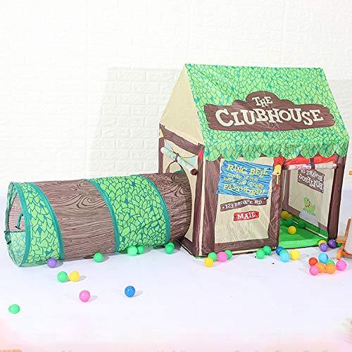 Zhouzl Productos de Camping Niños del hogar Que Imprimen juegan a la Carpa Small Game House with Passageway Productos de Camping (Color : Green)