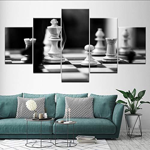 Mddjj Leinwand Bilder Für Wohnzimmer Dekor 5 Stücke Schwarz Und Weiß Schachbilder Hd Drucke Spiel Poster Modulare Wandkunst Rahmen Wohnzimmer Dekoration