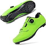 JINFAN Calzado de Ciclismo - Hombre Mujer Calzado de Bicicleta Racing Zapatillas de Bicicleta de Montaña Zapato de Carrera Atlético Ultraligero Sin Bloqueo Profesional,Green-42EU