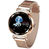 Pard Gorgeous Women Smart Watch, Heart Rate Fitness Tracker, Activity Sport Bracelet for Android and iOS Smartphones, Gold