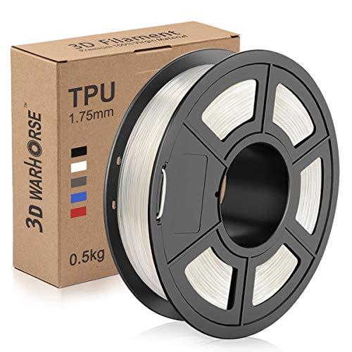 TPU Filament 1.75mm Flexible, 3D Printer Filament Dimensional Accuracy +/- 0.03 mm, 0.5 Kg Spool, Transparent