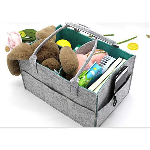 LJY-INC 1PC Large Capacity Makeup Organizer Infant Baby Diaper Holder Bag Handle Caddy Felt Basket Nursery Storage Bin for Home Car Nursery (Green)