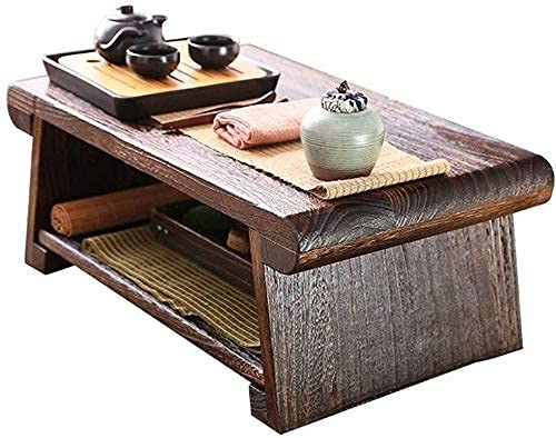 SHUMEISHOUT End Tables Coffee Table Coffee Tables Solid Wood Bay Window Small Coffee Table Coffee Tables Balcony Short Tea Table Household Folding Tatami Table,Brown,60 * 35 * 23cm