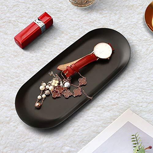 KINLO Schmucktabletts matt-schwarz 2 Stück Edelstahl Schmuck Tablett zum Aufnehmen von Fotos Oval Ablageschale aus Metall Servierplatten für Süßigkeiten/ Schmuck/...