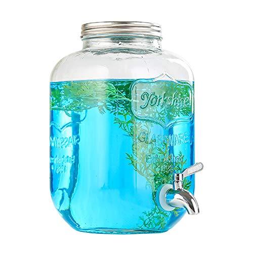 Bekith 1 Gallon Glass Beverage Dispenser with 18/8 Stainless Steel Spigot, Mason Jar Glass Drink...