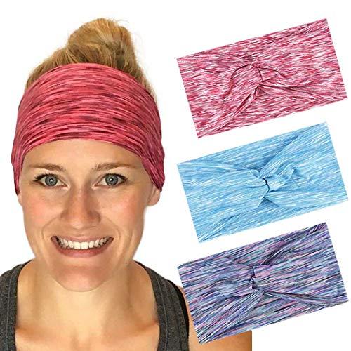 LittleB - Diadema para el pelo estilo boho entrecruzado, para yoga, correr, diadema de algodón, con banda elástica para el pelo, accesorios para el pelo para mujeres (3 unidades)