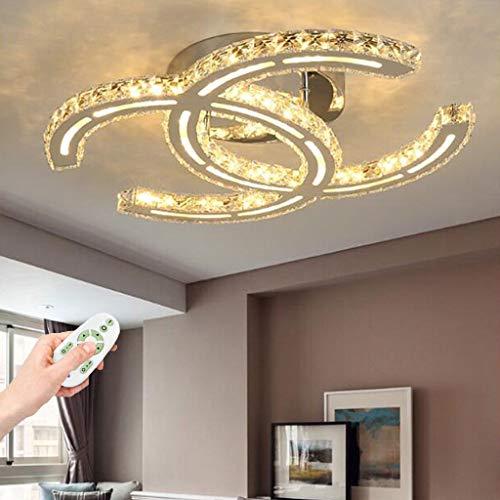 LED Deckenlampe Moderne Kristall Deckenleuchte Dimmbare Wohnzimmer Lampe Dekoration Schlafzimmer Deckenbeleuchtung Mit Fernbedienung Deckenspot Kreatives Design Edelstahl Spiegel Kronleuchter,75cm