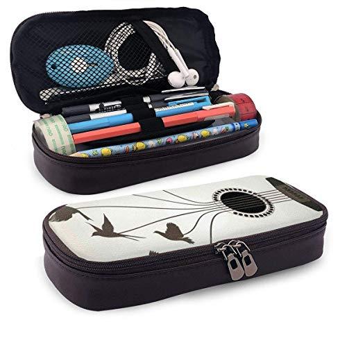 Étui à crayons en cuir, silhouettes d oiseaux volant des cordes de l illustration abstraite de guitare, étui à stylo pour bureau étudiant, 7,8  x4,5  x1,5