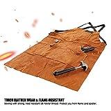 Schweißerschürze aus Leder – Hitzebeständige & Flammhemmende Schwere Arbeitsschürze mit 6 Taschen, 36