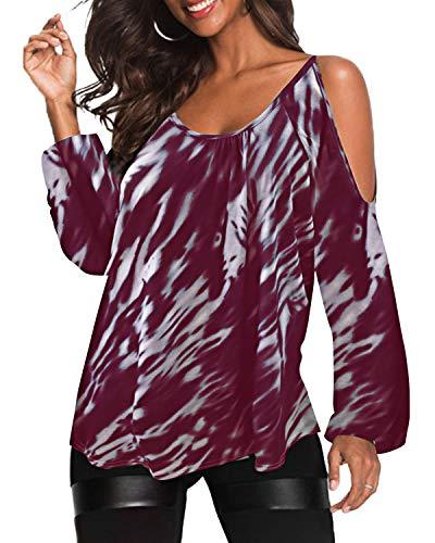 Blusa de hombros descubiertos, camisa de manga larga, casual, cuello redondo, túnica estampada al azar, de YOINS B-Vino Rojo XXL