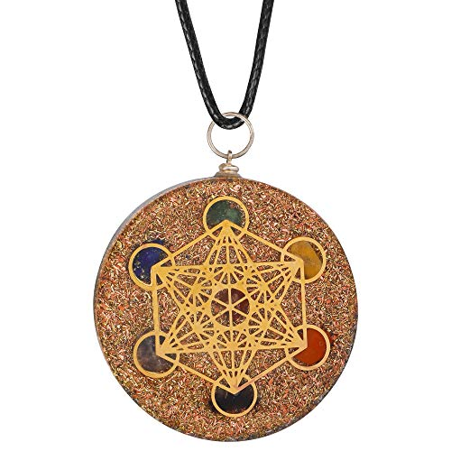Orgonite Natural Stone 7 Chakra Pendant for EMF Protection/Reiki Charged Metatron's Cube Merkaba Orgonite Necklace for Energy Enhancing and Relaxation Meditation Yoga Jewellery