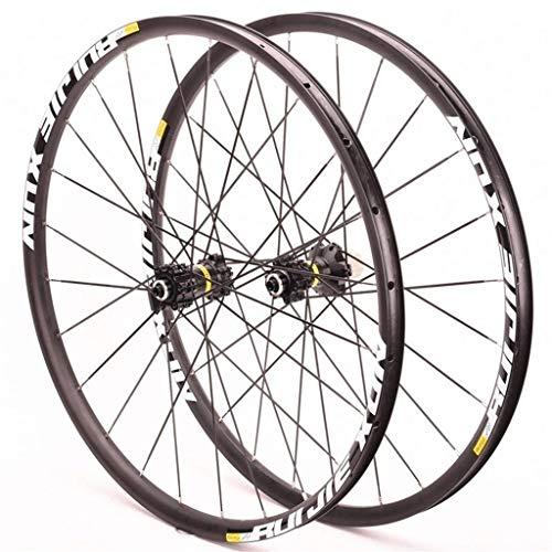 MZPWJD Ciclismo Ruedas MTB Juego Ruedas Bicicleta 26'/27.5'/29' 1570g Llanta Doble Pared Freno Disco Centro Tarjetas 8-11 Velocidad 6 Rodamientos Sellados QR (Color : Black)
