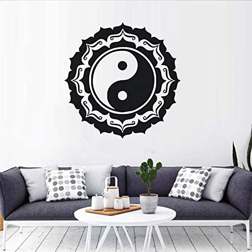 TYLPK Yin und Yang Design Mandala Wandaufkleber Buddha Statue Vinyl Wandtattoos Schwarz 57x57cm