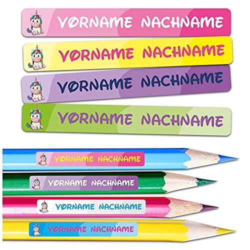 60 x Namensaufkleber Wunschname personalisiert je 4,5x0,6cm Aufkleber mit Kinder Name Beschriftung Schule Kindergarten Stifte Sticker (Nr. 30 Einhorn, Für schmale Oberflächen)