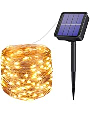 AMIR Solar Powered String Lights, 33ft 100 LED Outdoor String Lights, 8 Lighting Modes Waterproof Solar Decoration Lights for Gardens, Home, Dancing, Party, Christmas (Warm White + White)