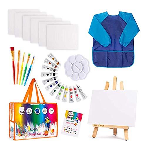 Kinder Kunst Set   27-teiliges Acrylfarben-Set mit 5 Pinsel 8x10 Malleinwand Tischplatte Staffelei & Bonus Art Smock Paint Palette Farbmischtabelle