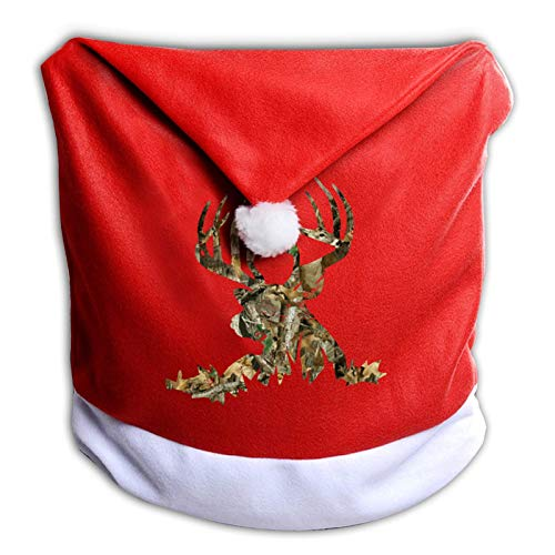 Leila Marcus Christmas Chair Covers Deer Hunting Camoflauge Santa Hat Chair Covers for Dining Room Holiday Christmas Decorations Red