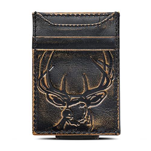 HOJ Co. DEER Front Pocket Wallet | Strong Magnetic Clip | Slim Money Clip Wallet | Deer Wallet | Deer Hunter Gift