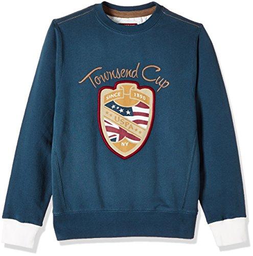 US Polo Association Boys_US Polo_Sweatshirts(8903952635882_UKSS5069_F/S R/N Sweatshirt-Navy_ES FS) [8 Years-9 Years], Blue
