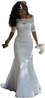 فساتين زفاف نسائية من SIQINZHENG من الدانتيل بدون كتف نصف كم فساتين عروس البحر