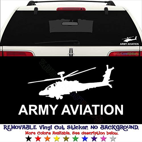 Military US Army Aviation AH-64 Apache Helicoter REMOVABLE Vinyl Decal Sticker For Laptop Tablet Helmet Windows Wall Decor Car Truck Motorcycle - Size (12 Inch / 30 Cm Wide) - Color (Matte White)