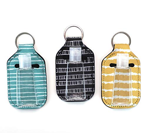 Zario Empty Travel Size Bottle and Keychain Holder - Refillable Bottles for Soap, Lotion, and Liquids - 30 ML Flip Cap Reusable Bottles with Keychain Carriers (stripes)