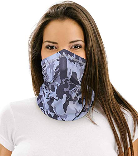 12 in 1 Multifunctional Neck Gaiter,Face Scarf Headwear for Unisex Men & Women (Camouflage Light Gray)